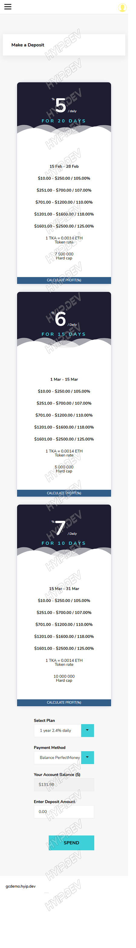 goldcoders hyip template no. 102, mobile page screenshot