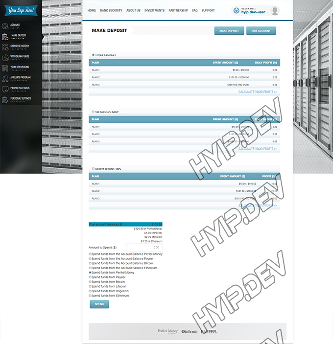 goldcoders hyip template no. 103, deposit page screenshot