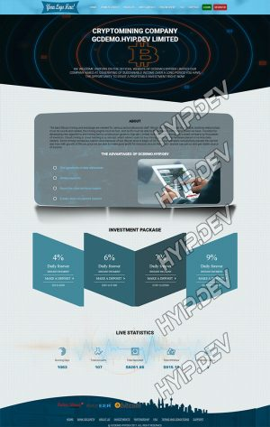 goldcoders hyip template no. 103, home page screenshot