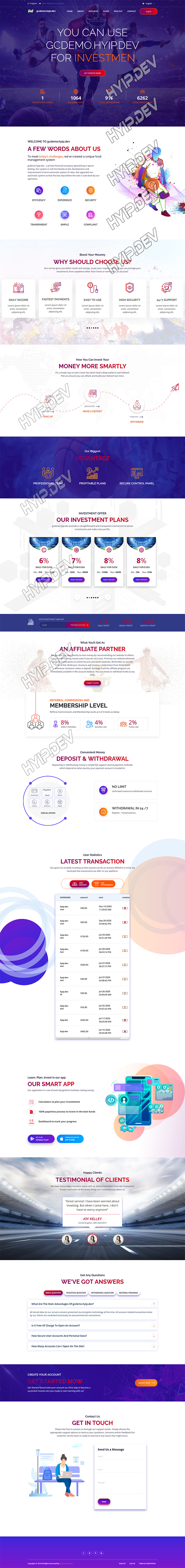 goldcoders hyip template no. 104, home page screenshot