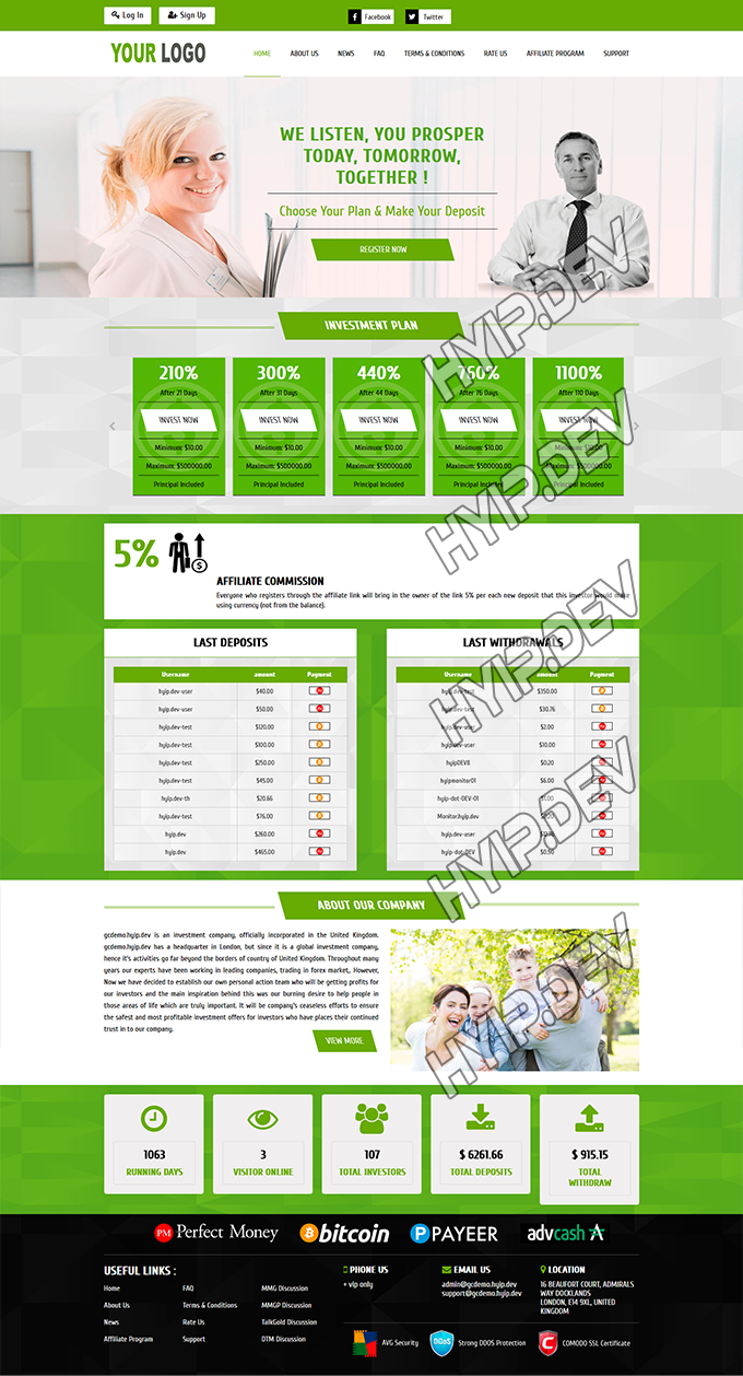 goldcoders hyip template no. 105, home page screenshot