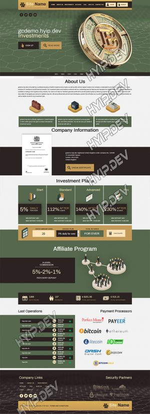 goldcoders hyip template no. 106, home page screenshot