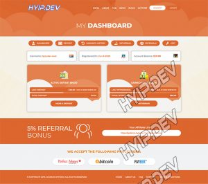 goldcoders hyip template no. 107, account page screenshot