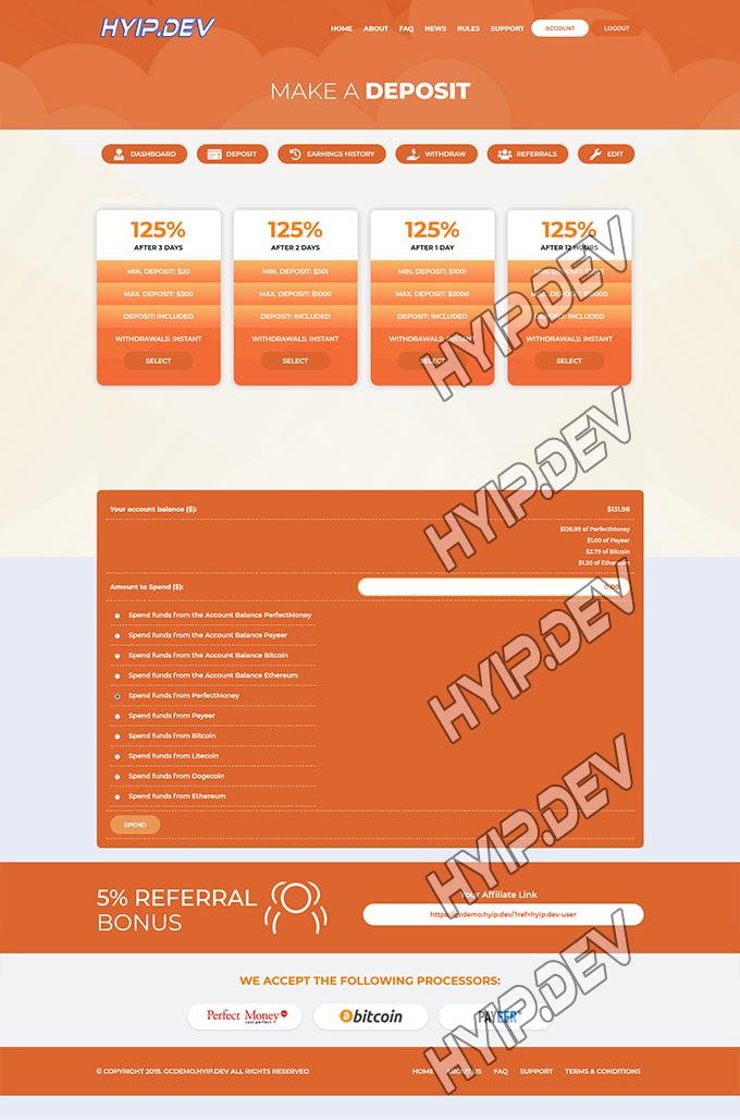 goldcoders hyip template no. 107, deposit page screenshot