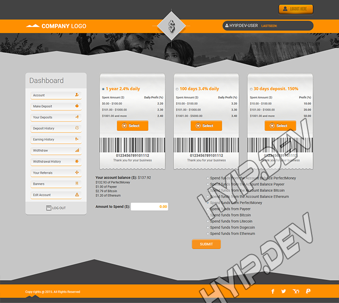 goldcoders hyip template no. 108, deposit page screenshot
