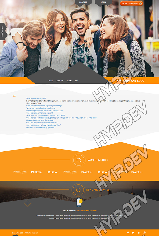 goldcoders hyip template no. 108, default page screenshot