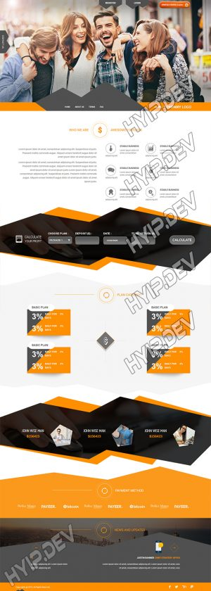 goldcoders hyip template no. 108, home page screenshot