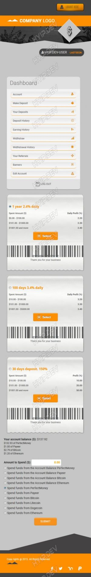 goldcoders hyip template no. 108, mobile page screenshot