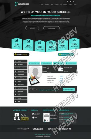 goldcoders hyip template no. 109, account page screenshot