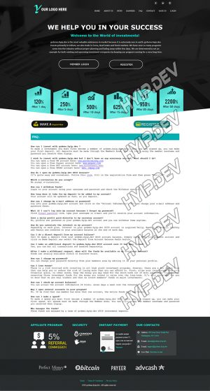 goldcoders hyip template no. 109, default page screenshot