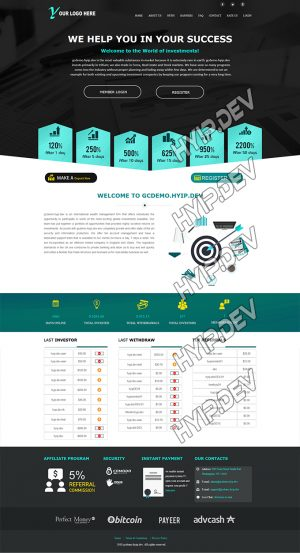 goldcoders hyip template no. 109, home page screenshot