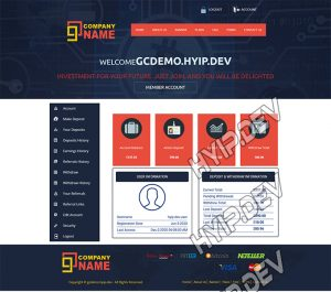 goldcoders hyip template no. 112, account page screenshot