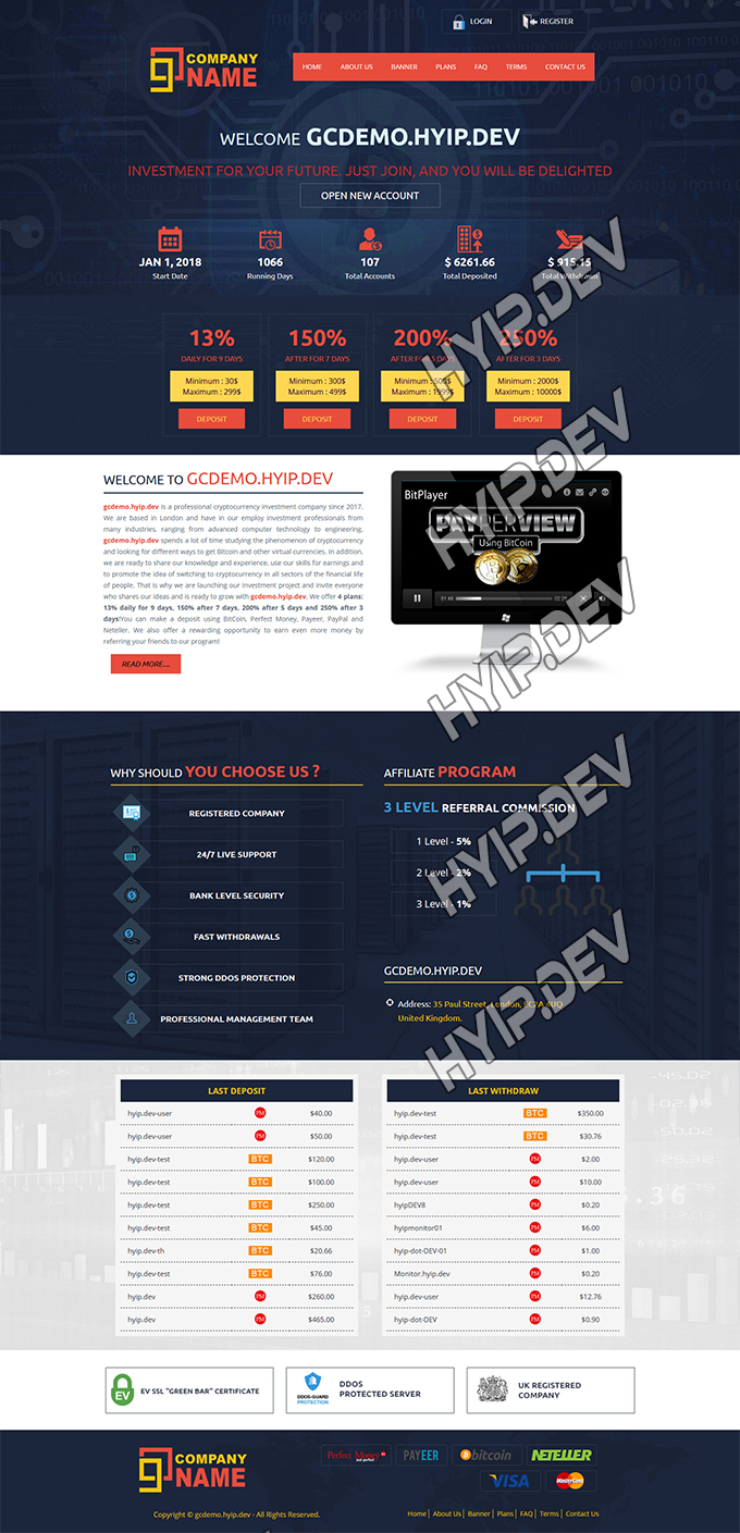 goldcoders hyip template no. 112, home page screenshot
