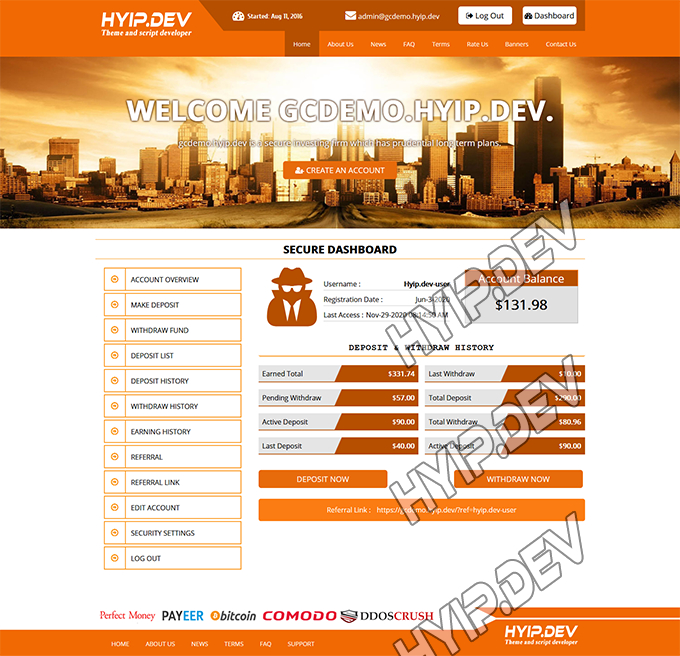 goldcoders hyip template no. 113, account page screenshot