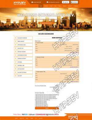 goldcoders hyip template no. 113, deposit page screenshot