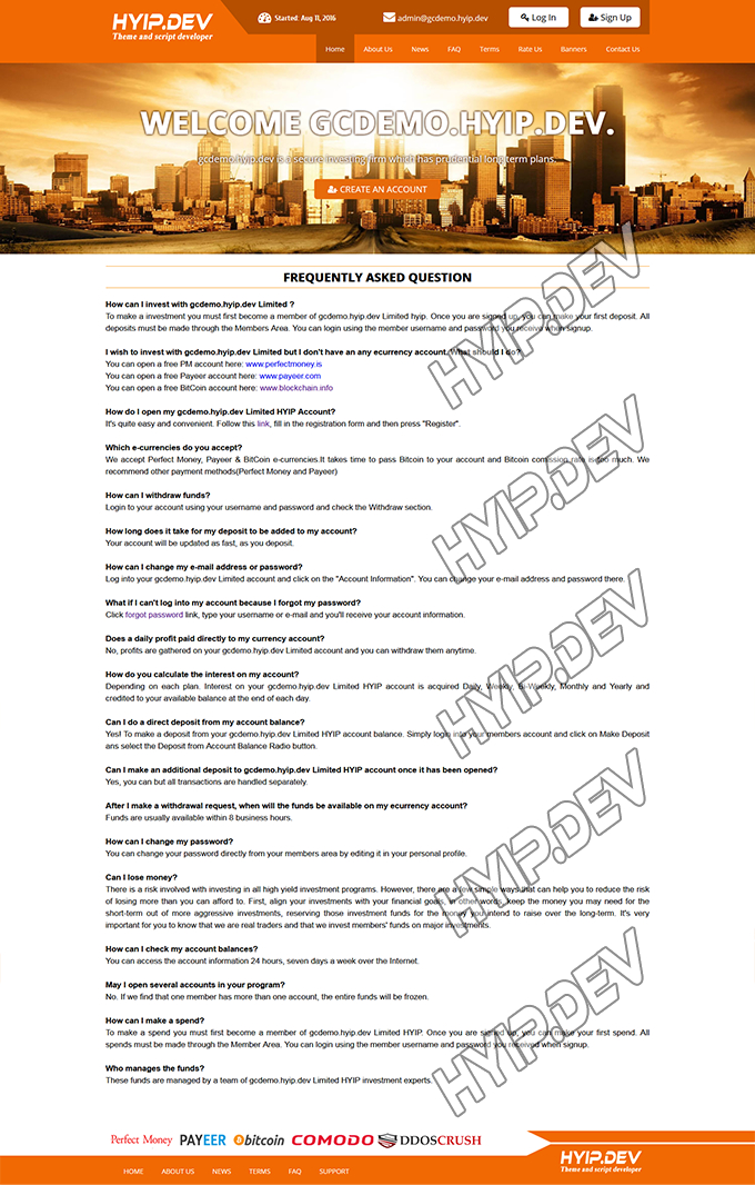 goldcoders hyip template no. 113, default page screenshot