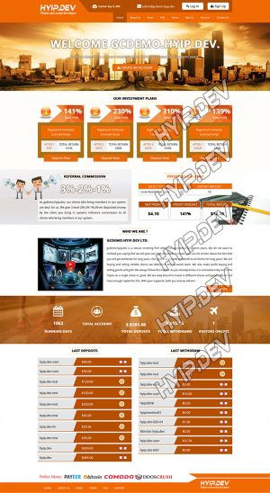 goldcoders hyip template no. 113, home page screenshot