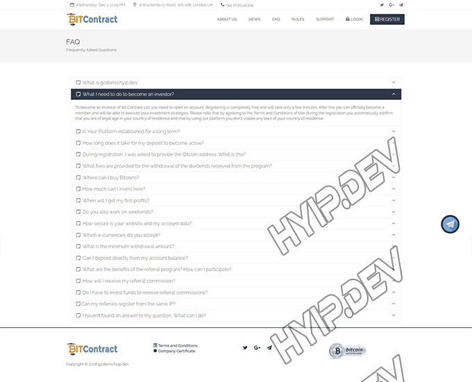 goldcoders hyip template no. 114, default page screenshot