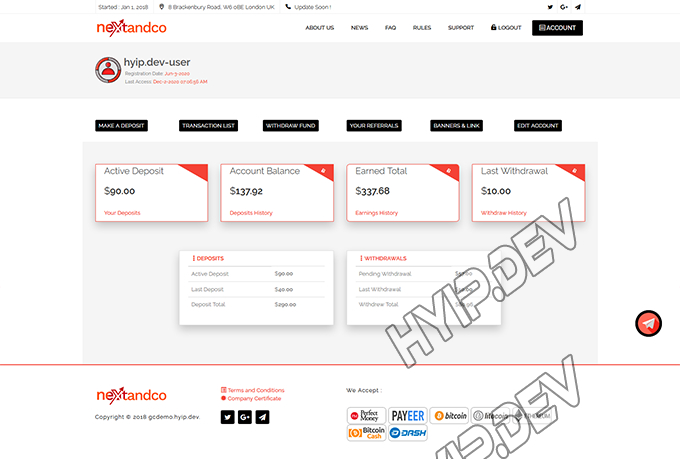 goldcoders hyip template no. 116, account page screenshot