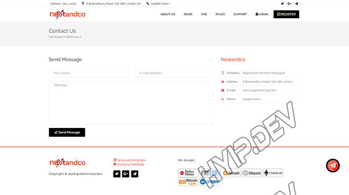 goldcoders hyip template no. 116, contact page screenshot