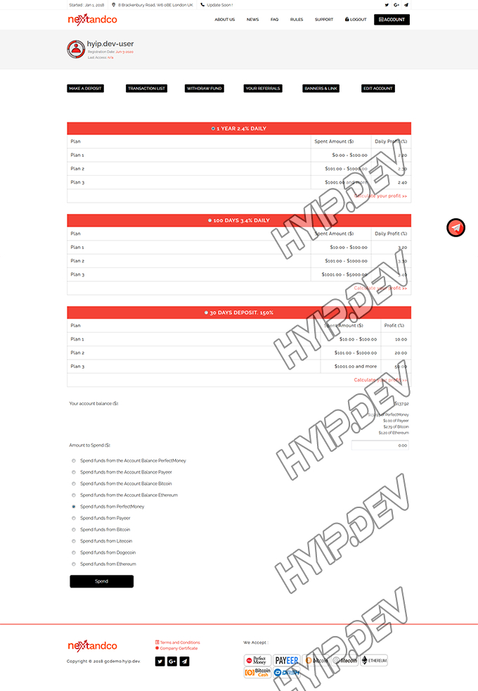 goldcoders hyip template no. 116, deposit page screenshot