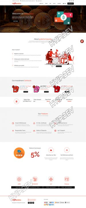 goldcoders hyip template no. 116, home page screenshot