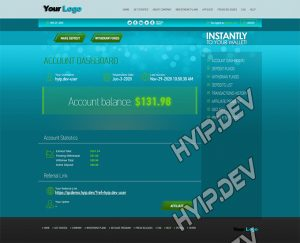 goldcoders hyip template no. 117, account page screenshot