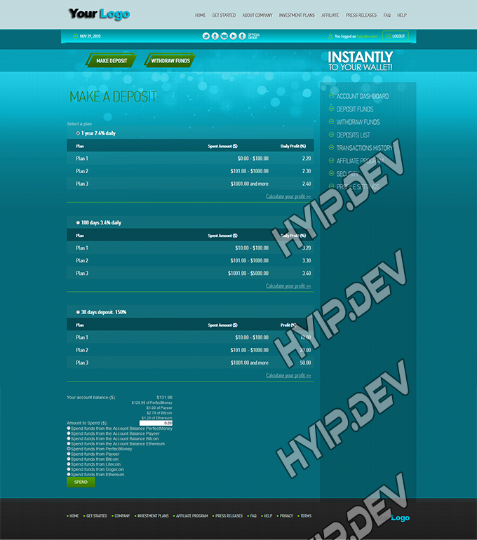 goldcoders hyip template no. 117, deposit page screenshot