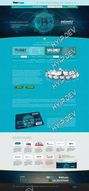 goldcoders hyip template no. 117, home page screenshot