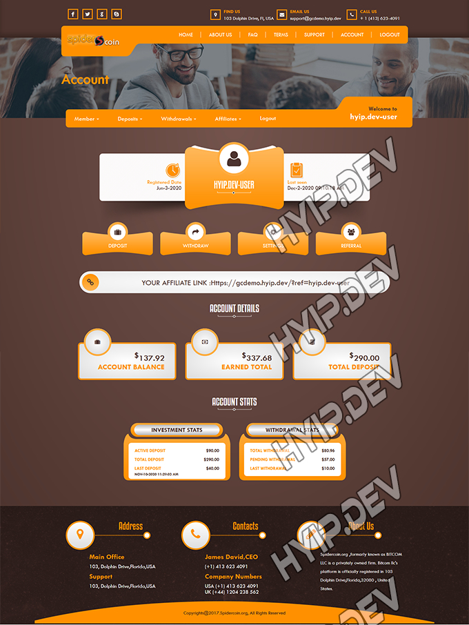 goldcoders hyip template no. 118, account page screenshot