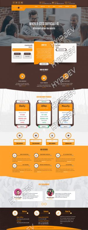 goldcoders hyip template no. 118, home page screenshot