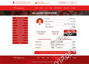 goldcoders hyip template no. 119, account page screenshot