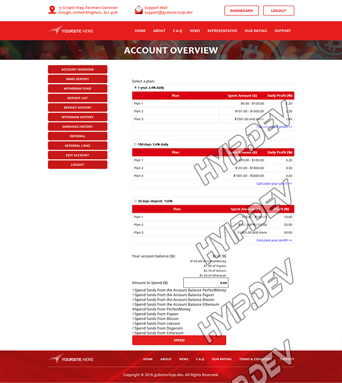 goldcoders hyip template no. 119, deposit page screenshot