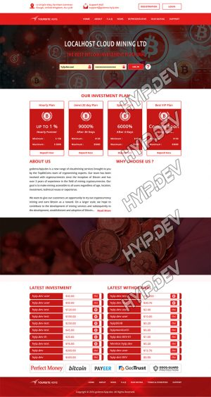 goldcoders hyip template no. 119, home page screenshot