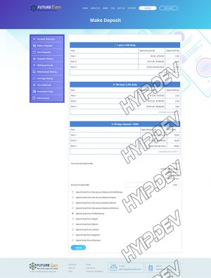 goldcoders hyip template no. 120, deposit page screenshot