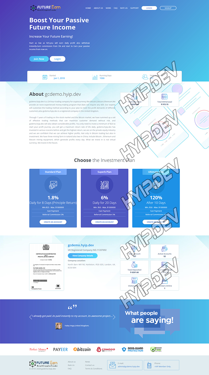 goldcoders hyip template no. 120, home page screenshot