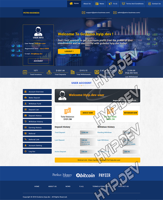 goldcoders hyip template no. 121, account page screenshot