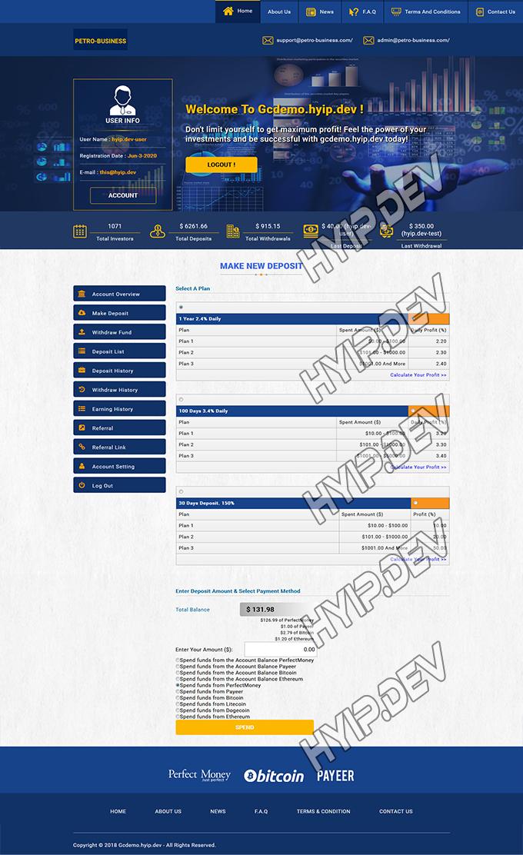 goldcoders hyip template no. 121, deposit page screenshot