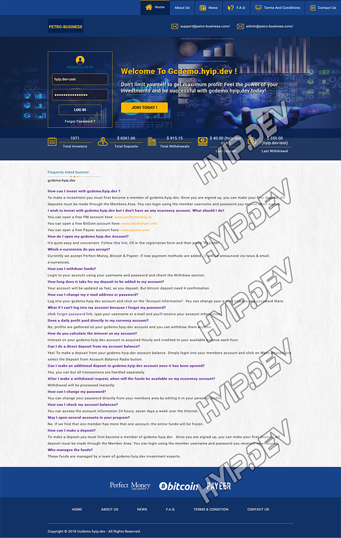 goldcoders hyip template no. 121, default page screenshot