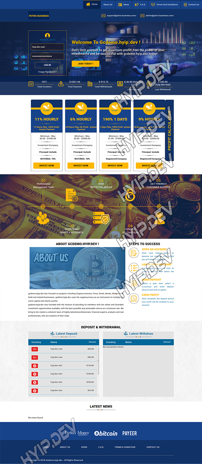 goldcoders hyip template no. 121, home page screenshot