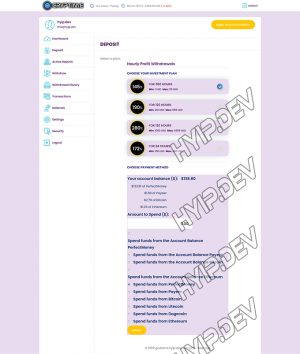 goldcoders hyip template no. 124, deposit page screenshot