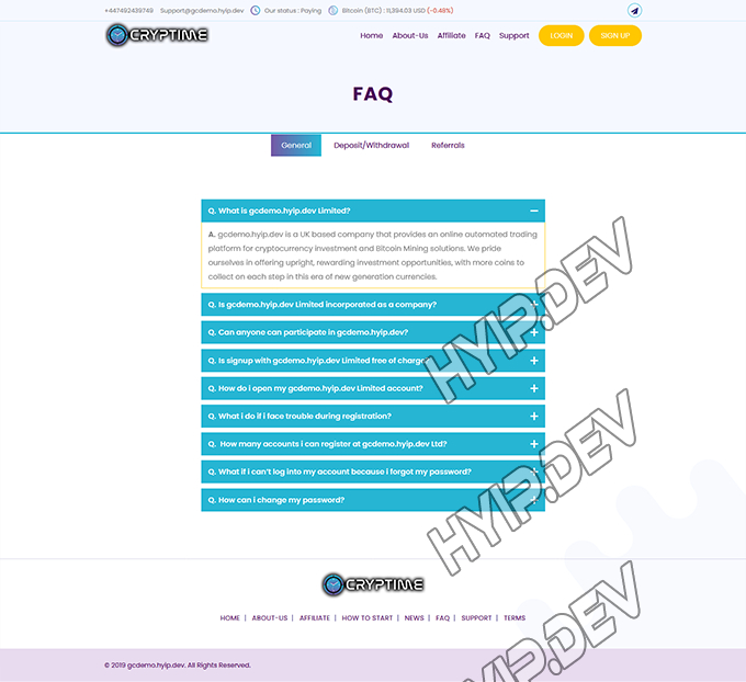goldcoders hyip template no. 124, default page screenshot