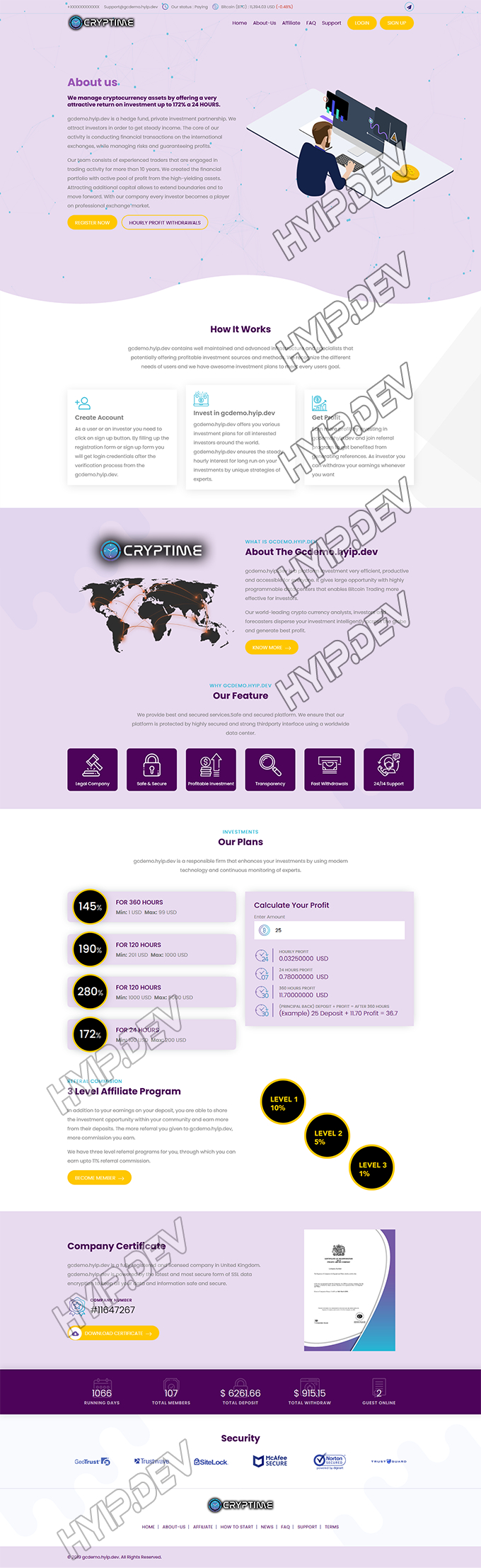 goldcoders hyip template no. 124, home page screenshot
