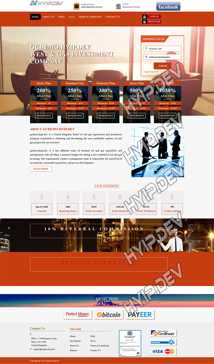 goldcoders hyip template no. 125, home page screenshot