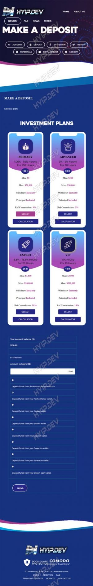 goldcoders hyip template no. 126, mobile page screenshot