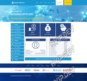 goldcoders hyip template no. 127, account page screenshot