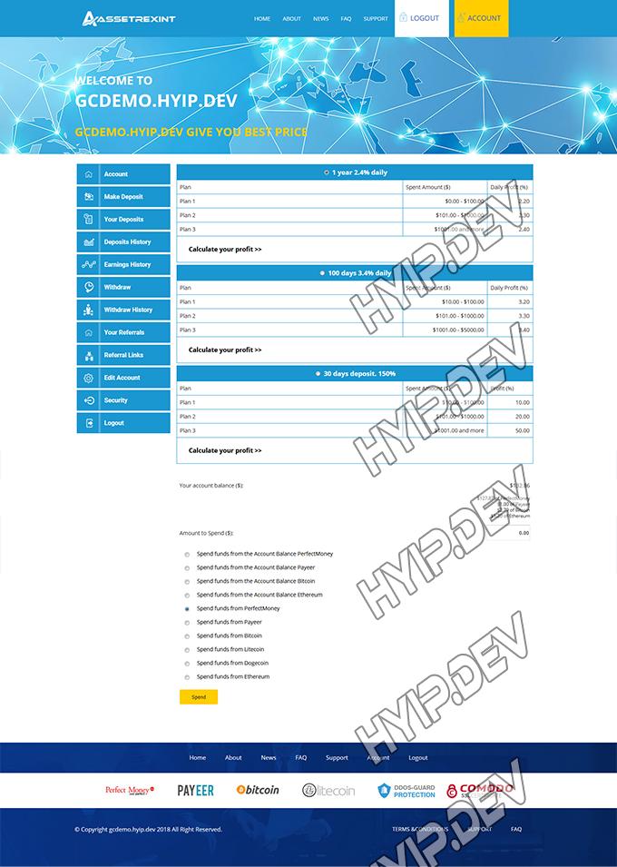 goldcoders hyip template no. 127, deposit page screenshot