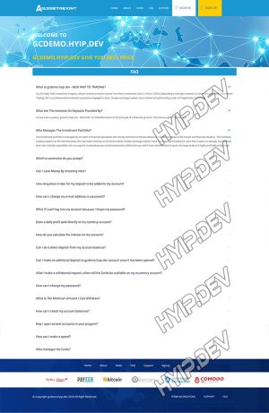 goldcoders hyip template no. 127, default page screenshot