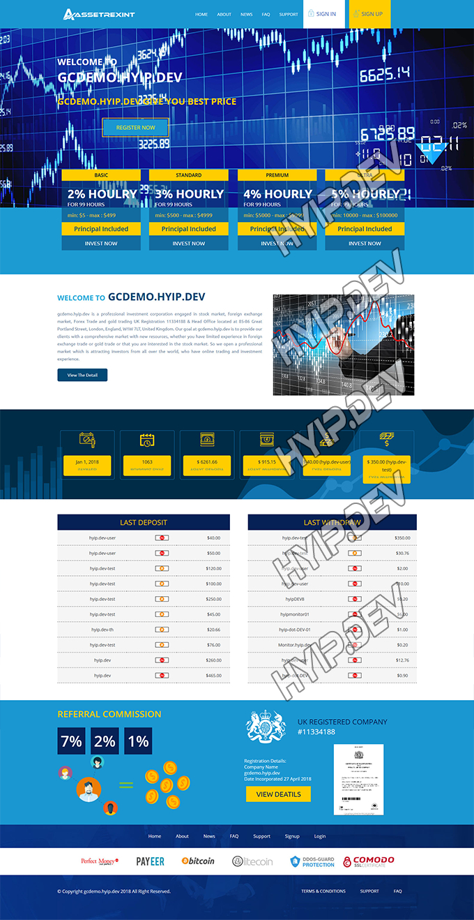 goldcoders hyip template no. 127, home page screenshot