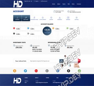 goldcoders hyip template no. 128, account page screenshot